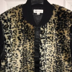 75fe5cc860d4 Lord & Taylor Jackets & Coats - Faux fur & Leather Leopard print bomber  jacket